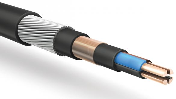 Кабель передачи электроэнергии частотой 50-400Гц и передачи данных частотой 1200Гц с экраном и проволочной броней